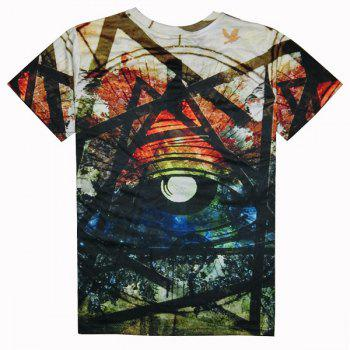 Casual Colorful Printed Round Collar T-Shirt For Men - COLORFUL S