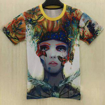 Casual Butterfly Clown Printed Round Collar T-Shirt For Men