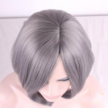 Prevailing Grandma Ash Short Synthetic Bob Style Straight Tail Adduction Women's Cosplay Wig - LIGHT GRAY