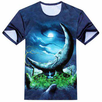 Modish Round Neck 3D Cartoon Moon Pattern Short Sleeve Men's T-Shirt