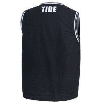 Rib Splicing Letter Print Round Neck Sleeveless Men's Tank Top - XL XL