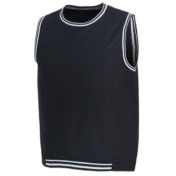 Rib Splicing Letter Print Round Neck Sleeveless Men's Tank Top - BLACK XL
