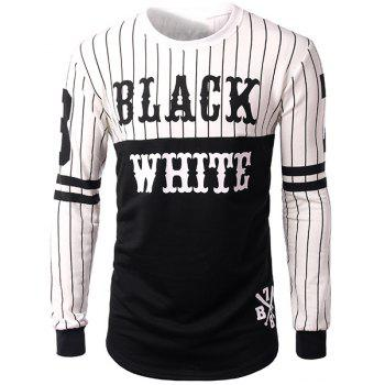 Striped and Letters Print Round Neck Side Zipper Design Long Sleeve Men's Sweatshirt
