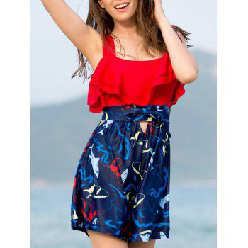Hollow Out Flounce Printed Two-PieceSwimsuit