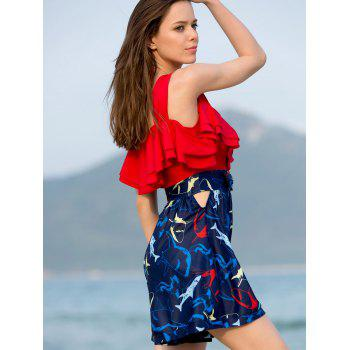 Hollow Out Flounce Printed Two-PieceSwimsuit - RED M