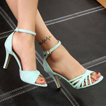 Stylish Ankle Strap and Splicing Design Women's Sandals - LIGHT GREEN 38