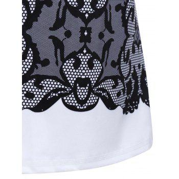 Chic Sleeveless Round Collar Slimming Lace Print Women's Tank Top - WHITE/BLACK M