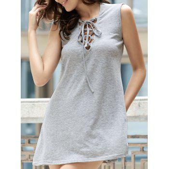 Sweet Solid Color Sleevless Grid V-Neck Women's Dress