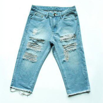 Casual Women's Destroy Wash Frayed Denim Shorts