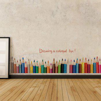 Fashion Removable Colorful Pencil Pattern Wall Stickers For Bedroom Skirting Line Decoration - COLORFUL