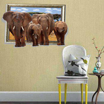 Fashion Elephants Picture Frame Pattern 3D Wall Stickers For Living Room Bedroom Decoration - COLORMIX