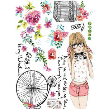 Fashion Removable Young Girl Pattern Wall Stickers For Living Room Bedroom Decoration - COLORMIX