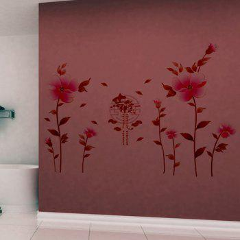 Fashion Waterproof Flowers Pattern Wall Stickers For Living Room Bedroom Decoration - PINK
