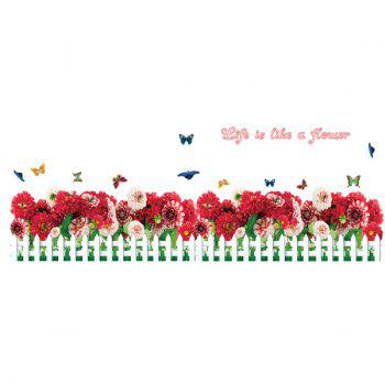 Fashion Removable Floral Fence Pattern Wall Stickers For Bedroom Skirting Line Decoration - COLORMIX