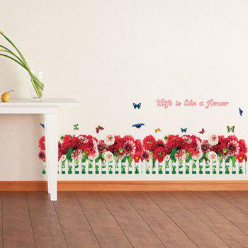 Fashion Removable Floral Fence Pattern Wall Stickers For Bedroom Skirting Line Decoration