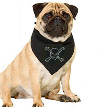 Exquisite Rhinestone Decor Skull Pattern Dog Triangle Neckerchief