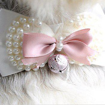 Hot Sale Venetian Pearl with Small Bell Decor Dog Bow Tie Collars - SHALLOW PINK SHALLOW PINK