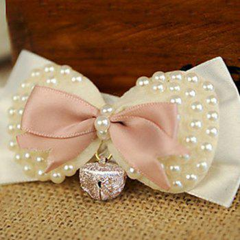 Hot Sale Venetian Pearl with Small Bell Decor Dog Bow Tie Collars -  SHALLOW PINK