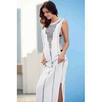 Stylish Round Neck Sleeveless Hollow Side Slit Women's Maxi Dress - WHITE L