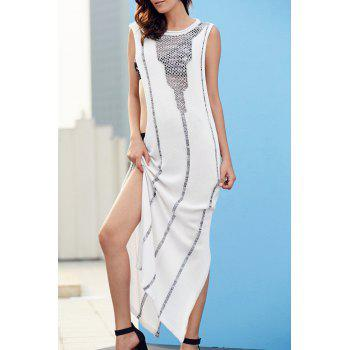 Buy Stylish Round Neck Sleeveless Hollow Side Slit Women's Maxi Dress WHITE