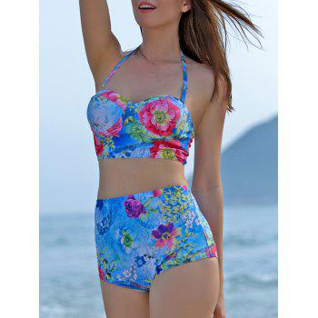 Trendy High-Waisted Push-Up Floral Print Women's Bikini Set