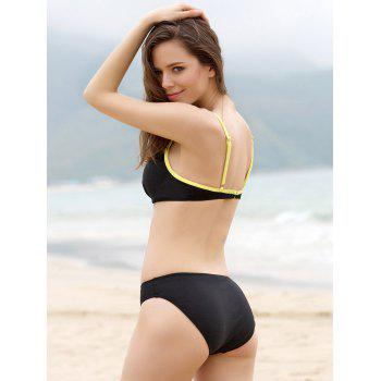 Alluring Sexy Bikini + Yellow Skirt + T-Shirt Four Piece Swimwear For Women - BLACK XL