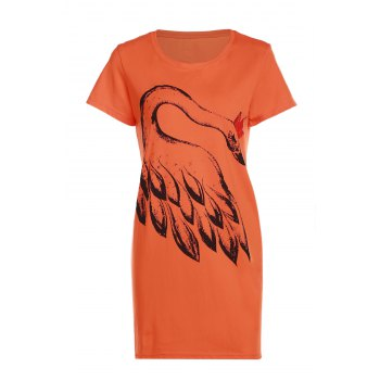 Casual Style Round Neck Short Sleeves Feather Print Women's T-Shirt