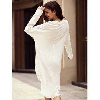 Fashionable Women's Plunging Neckline Long Sleeve High Low Dress - WHITE 2XL