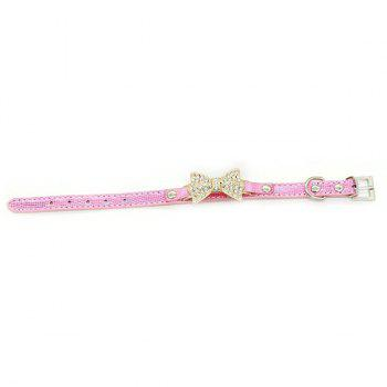 Chic Quality Golden Rhinestone Bow Decor PU Leather Adjustable Dog Collars - PINK XS
