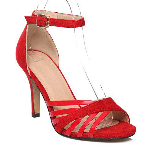 Stylish Ankle Strap and Splicing Design Women's Sandals - RED 39