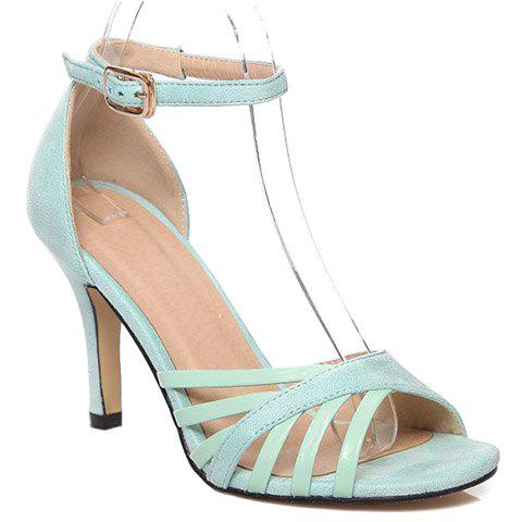 Stylish Ankle Strap and Splicing Design Women's Sandals