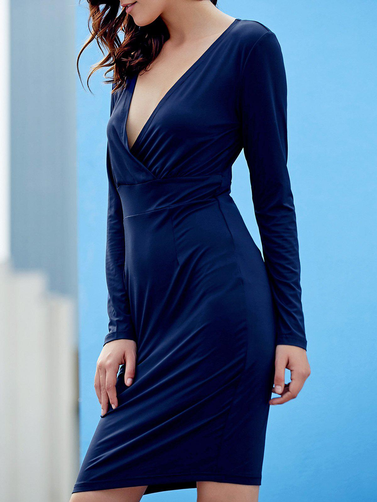 Sexy Plunging Neck Long Sleeve Pure Color Bodycon Women's Dress - PURPLISH BLUE M