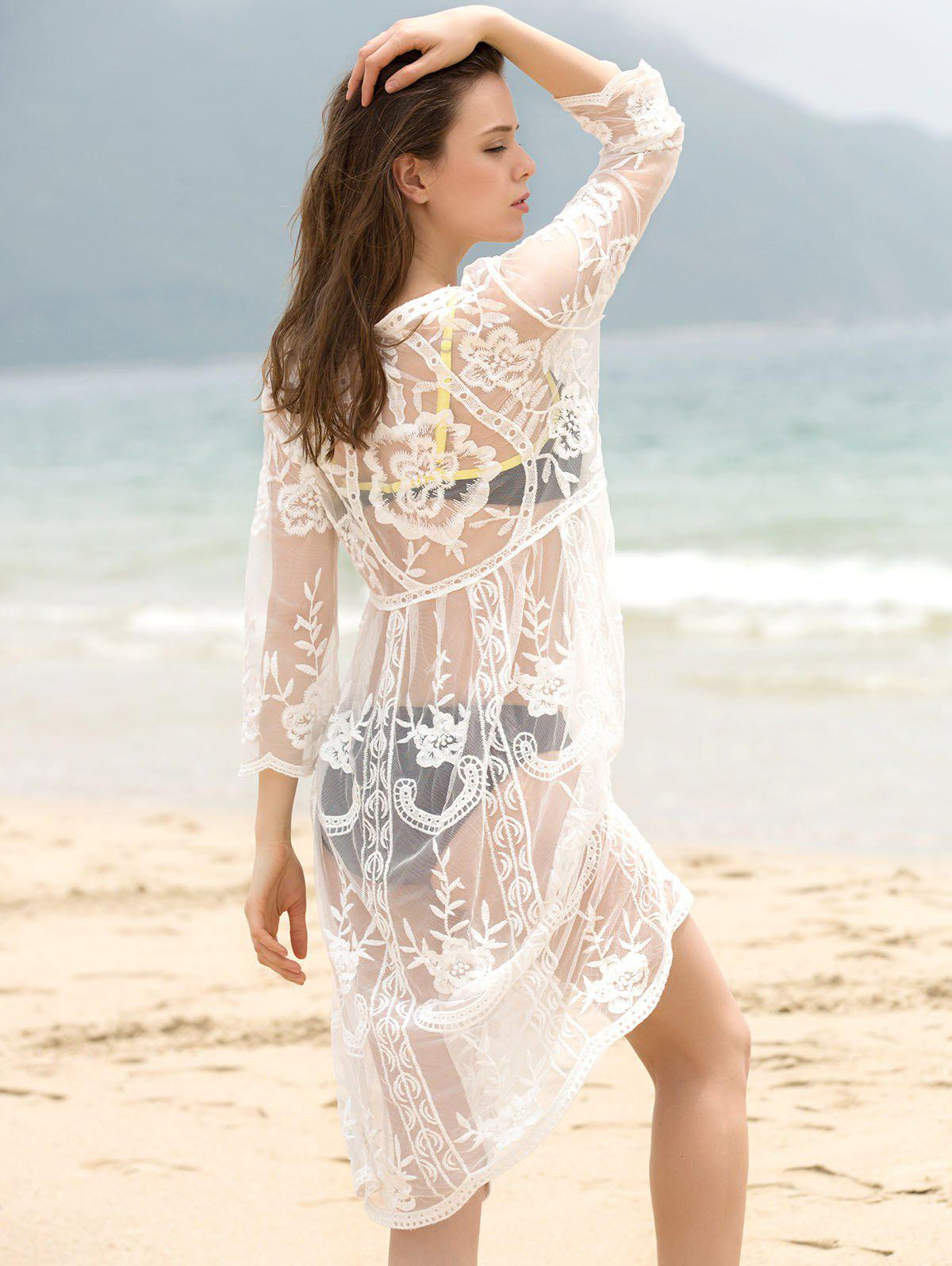 Trendy 3/4 Sleeve Round Collar Solid Color See-Through Women's Cover-Up - WHITE ONE SIZE(FIT SIZE XS TO M)