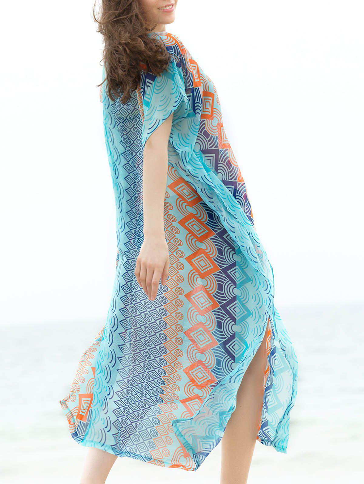 Bohemian Women's V-Neck Short Sleeve Geometrical Cover-Up Dress - BLUE ONE SIZE(FIT SIZE XS TO M)