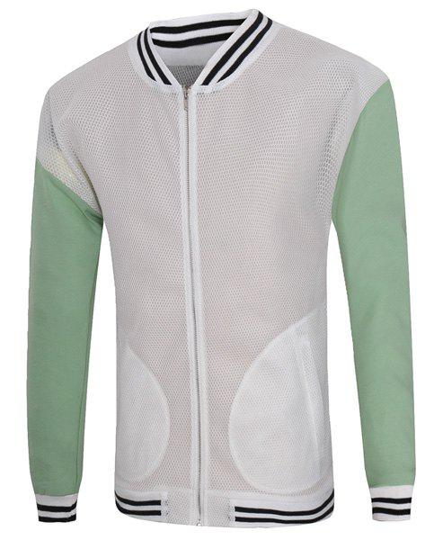 Vogue Stand Collar Hollow Out Color Spliced Long Sleeves Men's Fitted Jacket - WHITE L