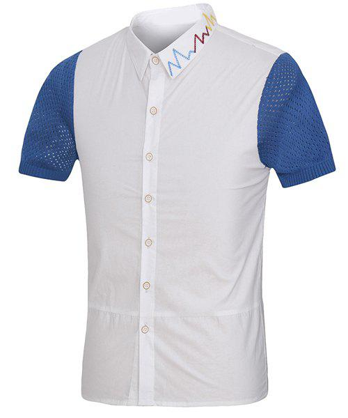 Colorful Embroidered Turn-Down Collar Mesh Spliced Short Sleeve Men's Shirt 176627406
