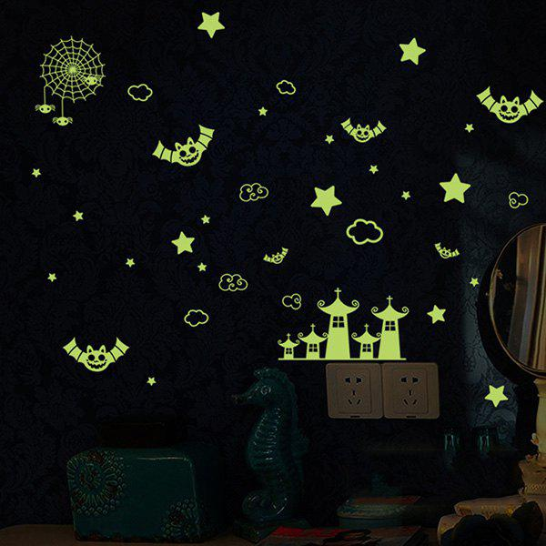 Fashion Night Sky Bat Spider Bedroom Ceiling Decoration Fluorescence Glow Wall Stickers