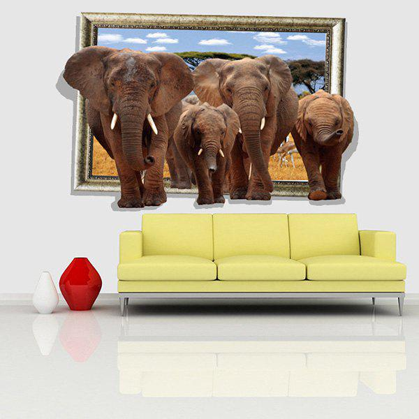 Fashion Elephants Picture Frame Pattern 3D Wall Stickers For Living Room Bedroom Decoration