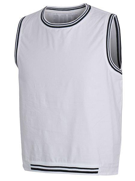 Rib Splicing Letter Print Round Neck Sleeveless Men's Tank Top - WHITE M