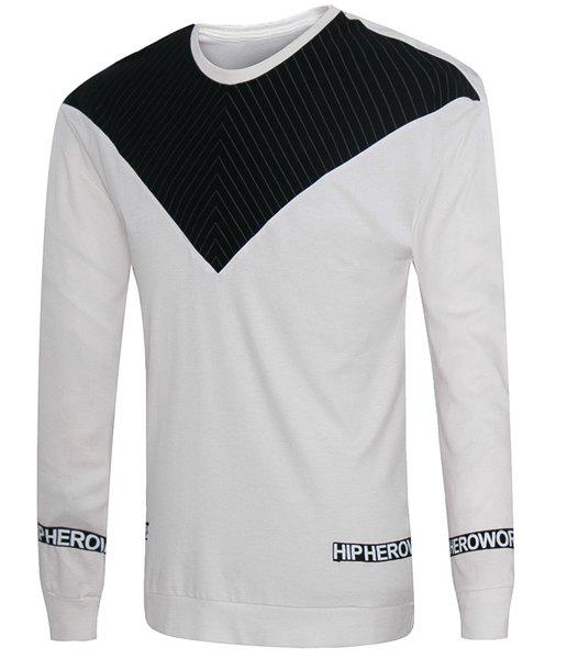 Letters Stripes Pattern Round Neck Long Sleeves Men's Loose Fit Sweatshirt - WHITE M
