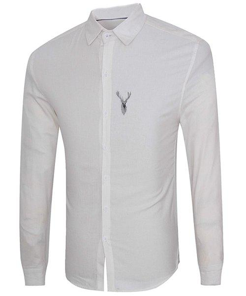 Elk Print Turn-Down Collar Long Sleeve Men's Shirt - WHITE L