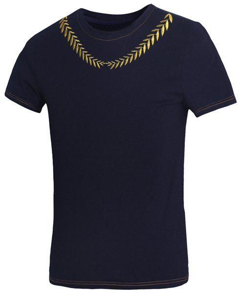 Slimming Round Neck Leaves Embroidered Short Sleeves Men's Fitted T-Shirt - CADETBLUE XL