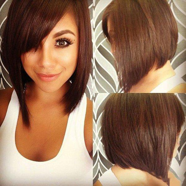Vogue Short Bob Style Straight Dark Brown Capless Real Human Hair Wig For Women - DEEP BROWN