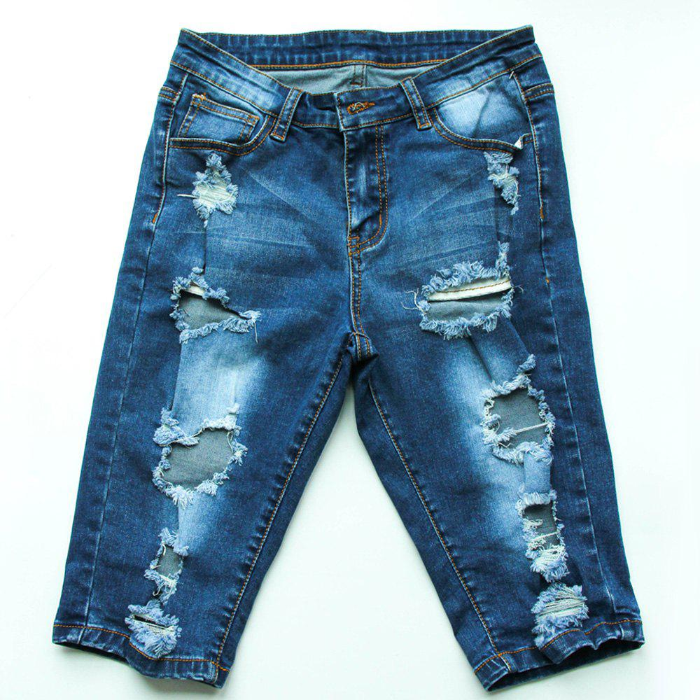 Trendy Bleach Wash Ripped Jeans  For Women