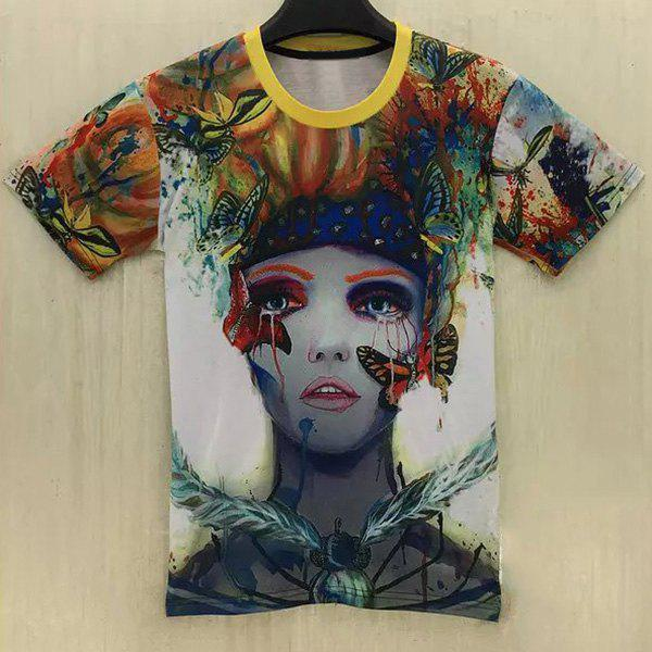 Casual Butterfly Clown Printed Round Collar T-Shirt For Men - COLORMIX L