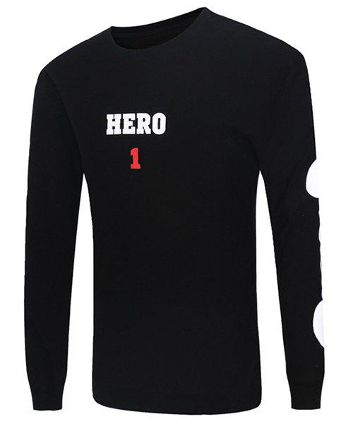 Round Neck Letter and Number Print Long Sleeve Men's Sweatshirt - BLACK L
