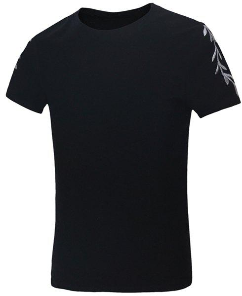 Solid Color Olive Leaf Embroidered Round Neck Short Sleeves Men's Fitted T-Shirt - BLACK XL