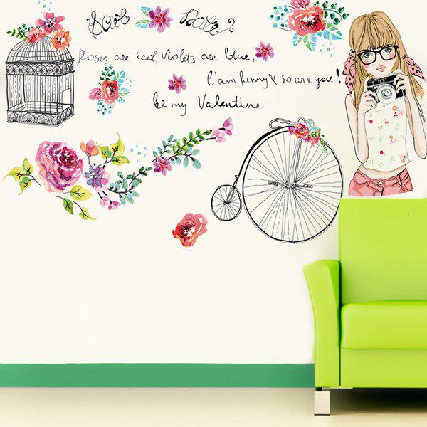 Fashion Removable Young Girl Pattern Wall Stickers For Living Room Bedroom Decoration