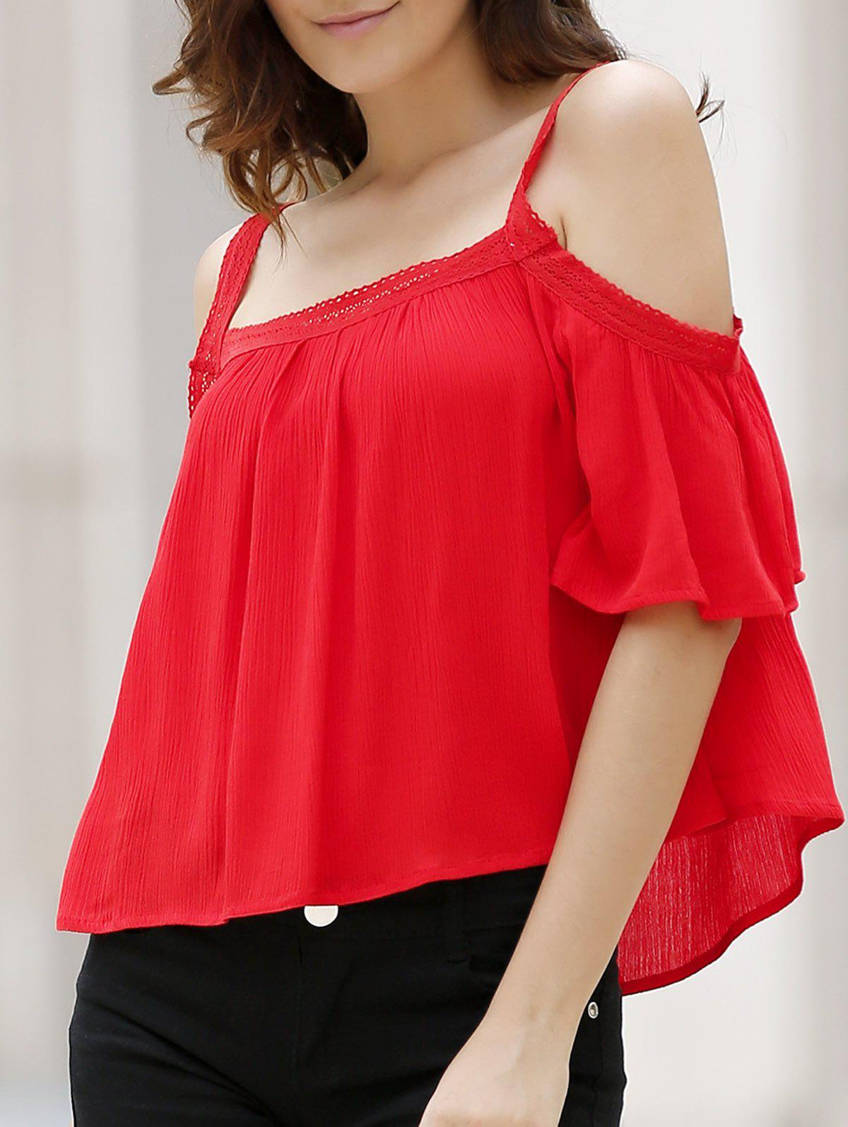 Chic Spaghetti Strap Half Sleeve Solid Color Cold Shoulder Loose Women's Blouse - RED M