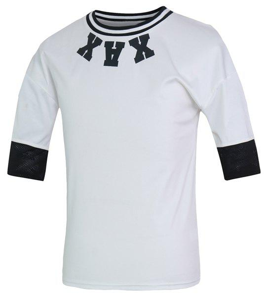 Color Block Hollow Out Round Neck Half Sleeves Men's Fitted T-Shirt